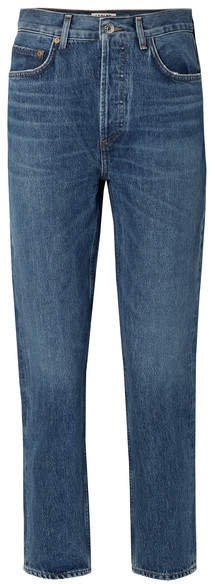 AGOLDE - Riley Cropped High-rise Straight-leg Jeans - Blue