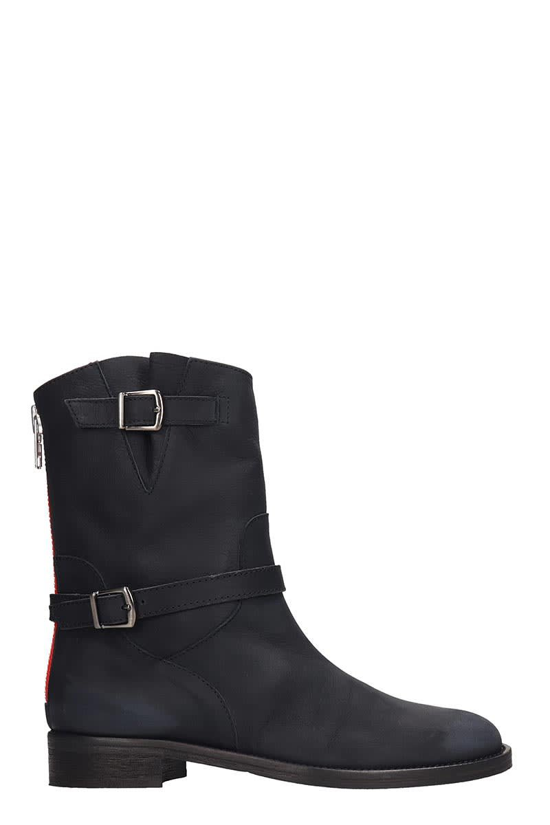 Via Roma 15 Combat Boots In Black Leather