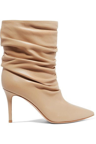 Gianvito Rossi | Cecile 85 ruched leather ankle boots | NET-A-PORTER.COM