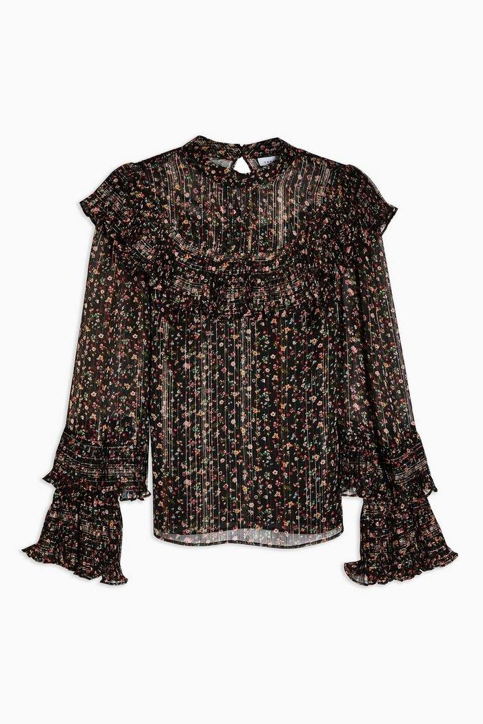 Black Printed High Neck Blouse | Topshop