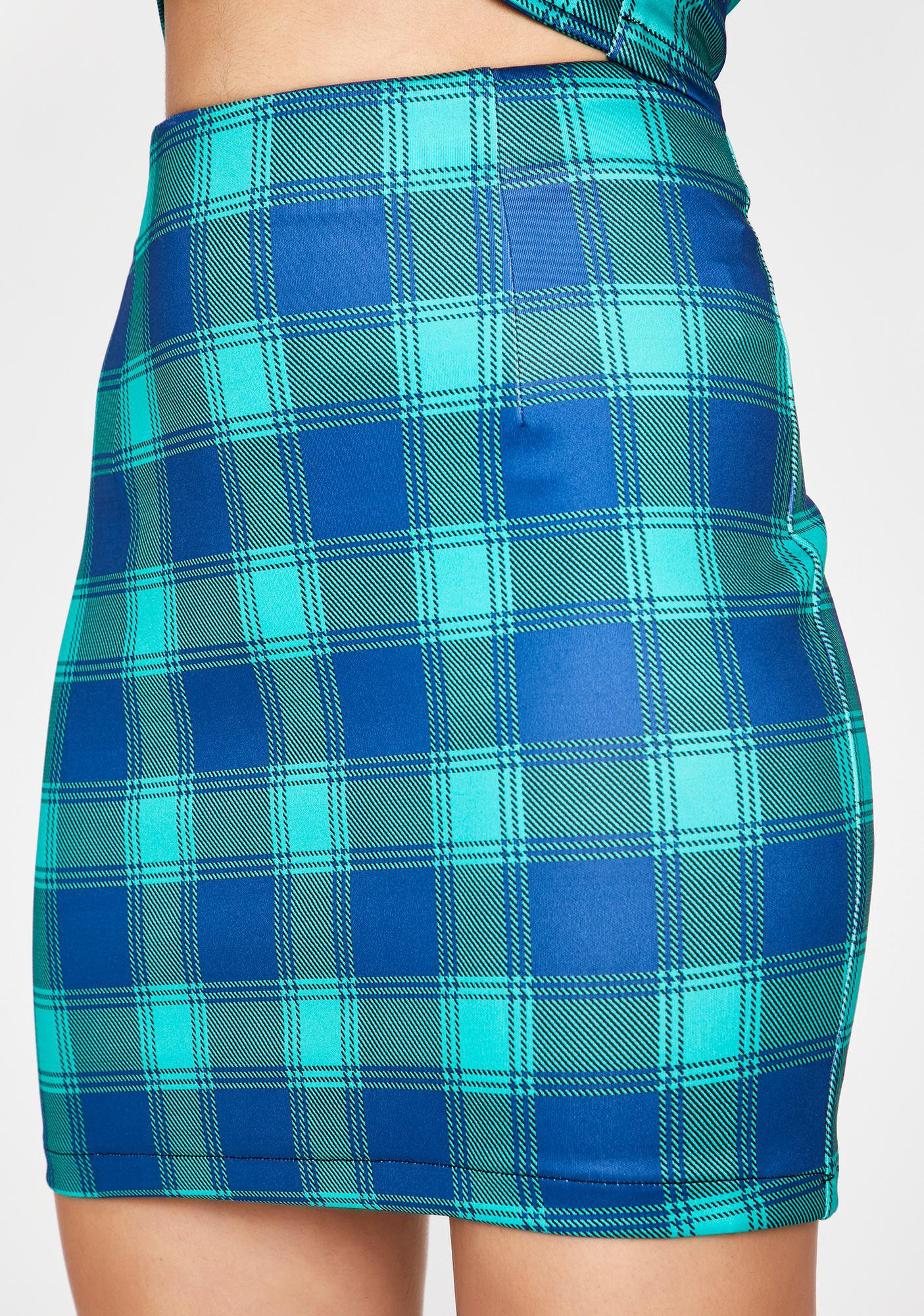Plaid Mini Skirt Blue Green | Dolls Kill