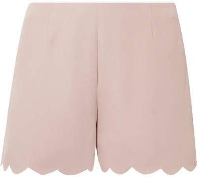 Scalloped Silk-crepe Shorts - Antique rose