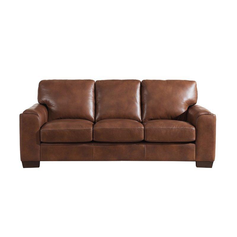 Orren Ellis Hadley Craft Leather Sofa   Wayfair.ca
