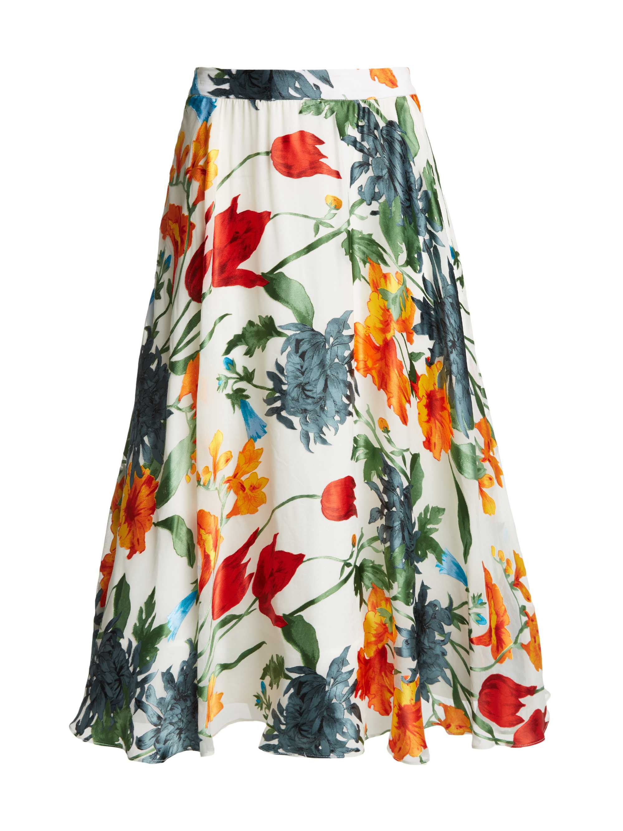 EARLA HIGH WAIST FLARE MIDI SKIRT | Alice + Olivia