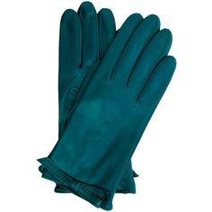 Portolano Teal Nappa Leather Bow Detail Gloves