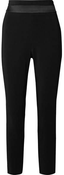 Cushnie - Cropped Charmeuse-trimmed Crepe Slim-leg Pants - Black