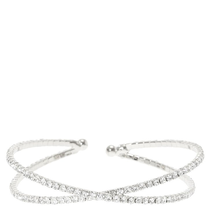 Silver Glass Rhinestone Criss Cross Bracelet | Claire's US