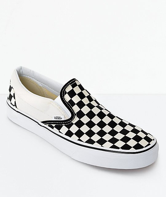 Vans Slip-On Black & White Checkered Skate Shoes | Zumiez