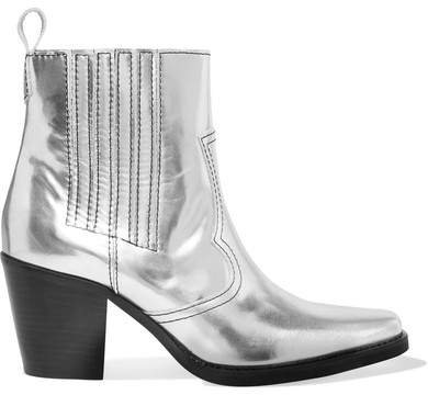 Callie Metallic Leather Ankle Boots - Silver