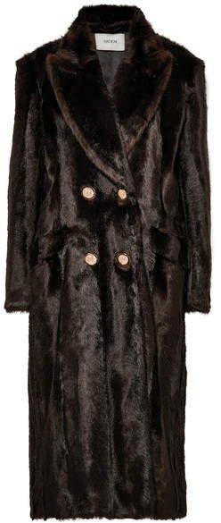 Almeda Double-breasted Faux Fur Coat - Brown