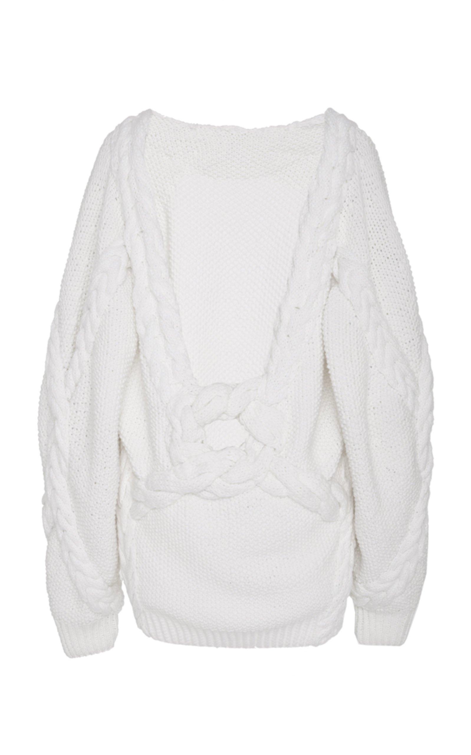 Low Back Cable-Knit Wool Sweater by Oscar de la Renta | Moda Operandi