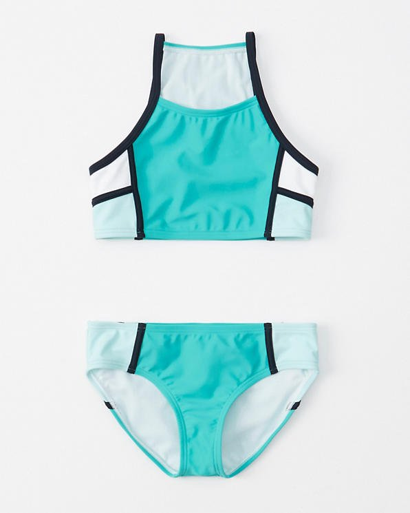 girls colorblock high-neck two-piece swimsuit | girls swimsuits | Abercrombie.com
