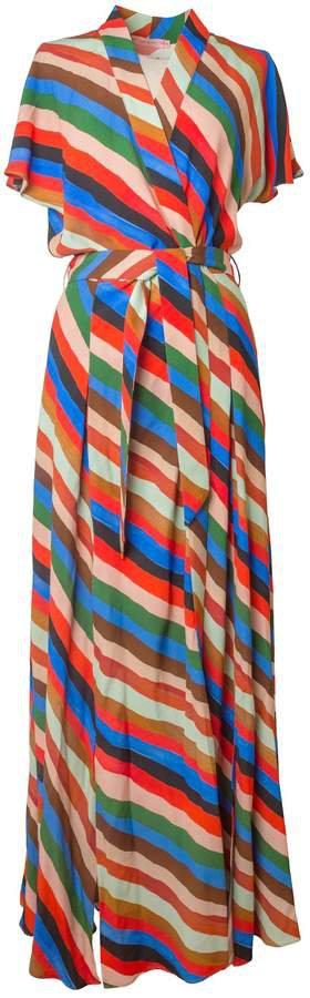 Tomcsanyi - Gyal Stripes Print Kimono Multi Slits Dress