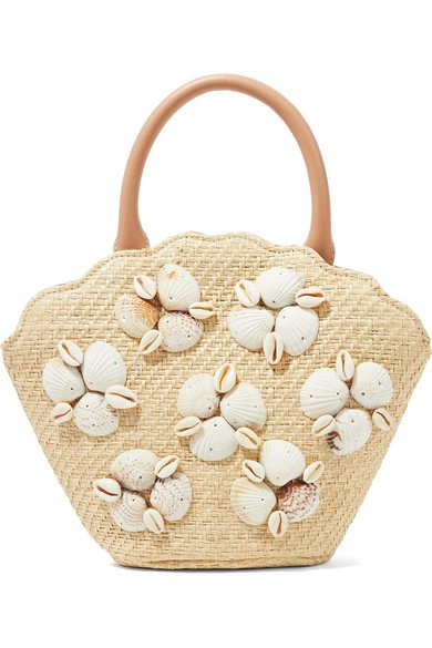 Loeffler Randall | Aria leather-trimmed shell-embellished woven straw tote | NET-A-PORTER.COM