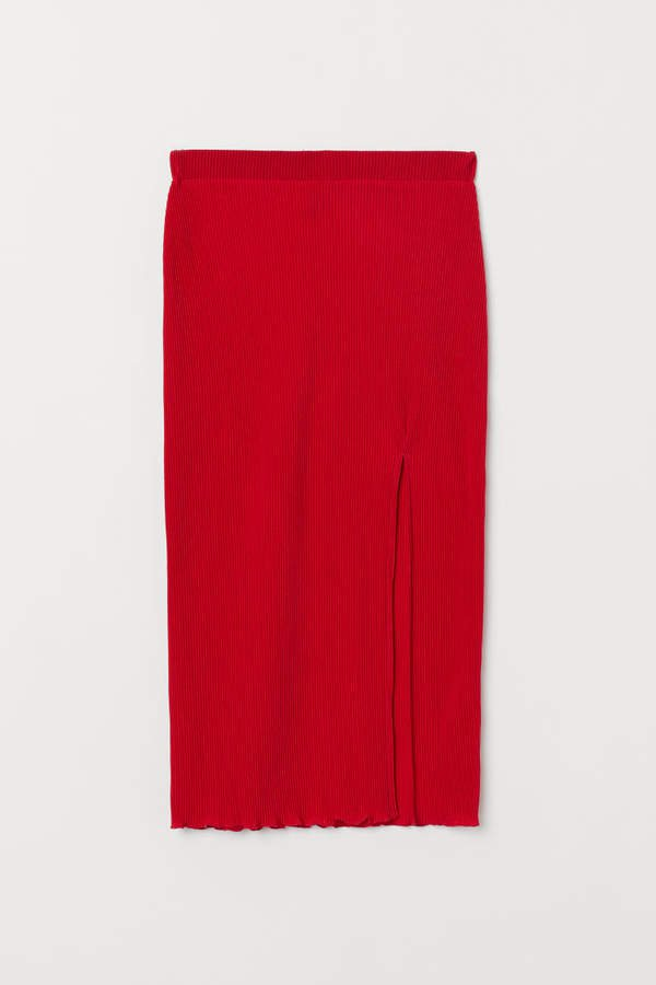Pleated Jersey Skirt - Red