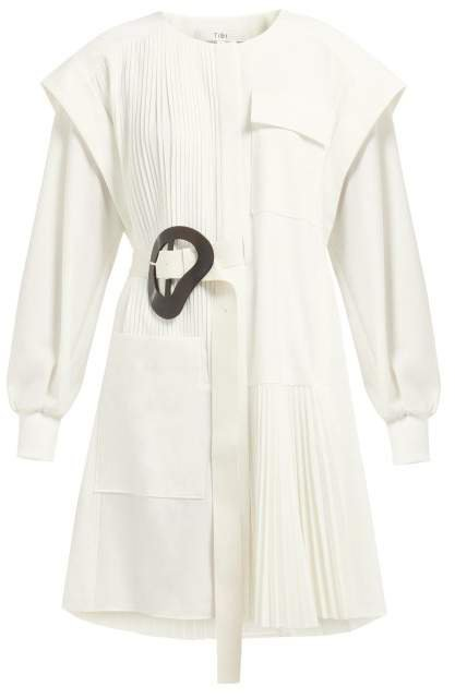Edith Asymmetric Pleated Mini Dress - Womens - White
