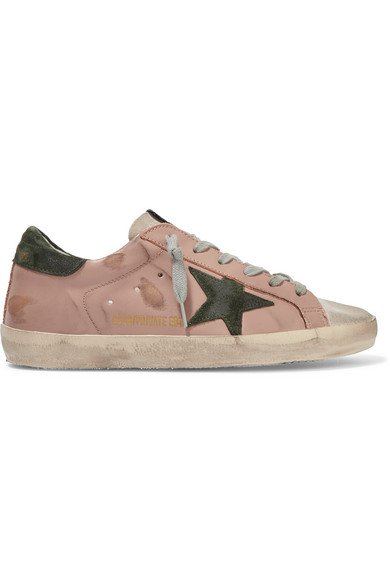 Golden Goose | Superstar distressed leather and suede sneakers | NET-A-PORTER.COM