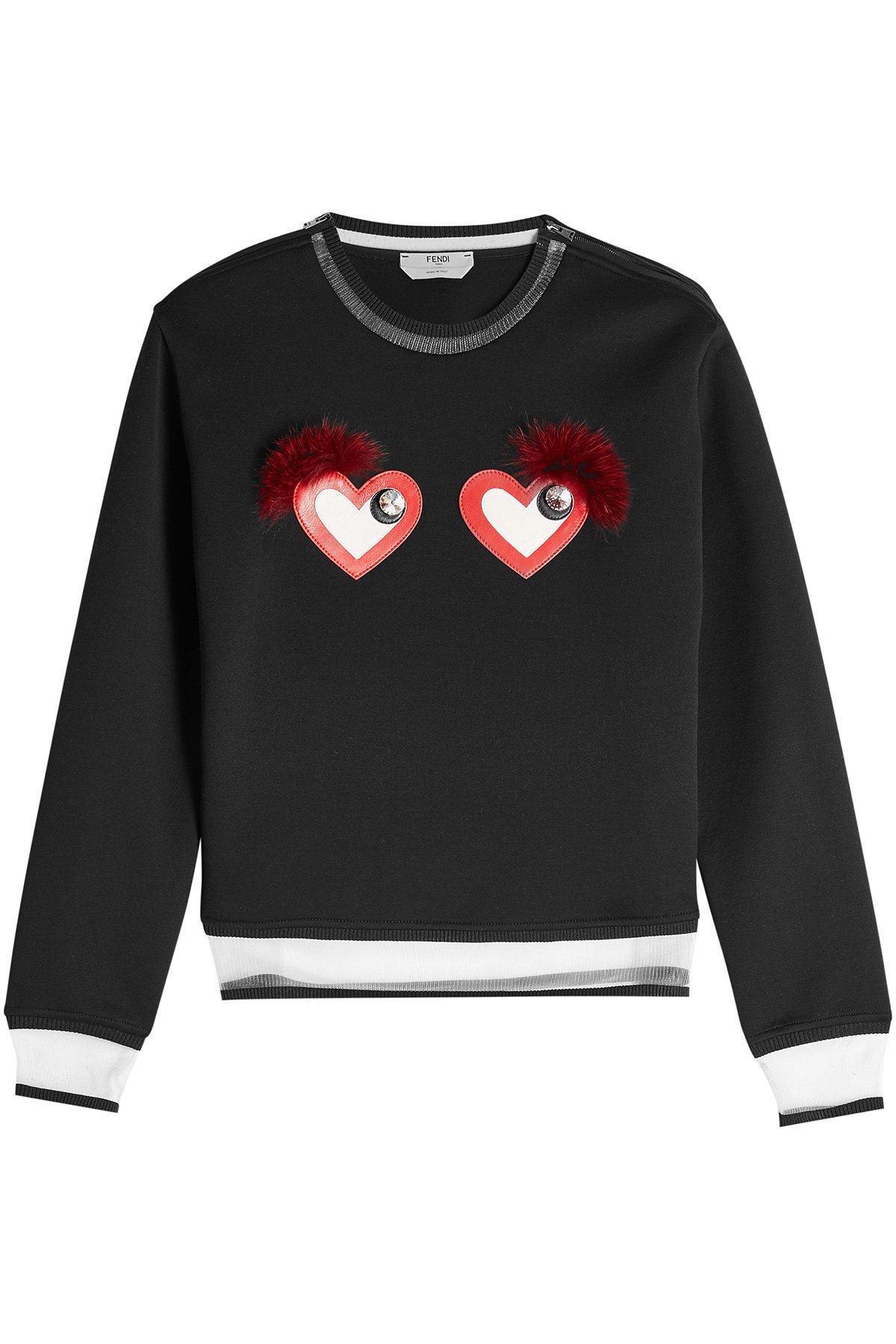 Cotton-Blend Sweatshirt with Hearts Gr. IT 44