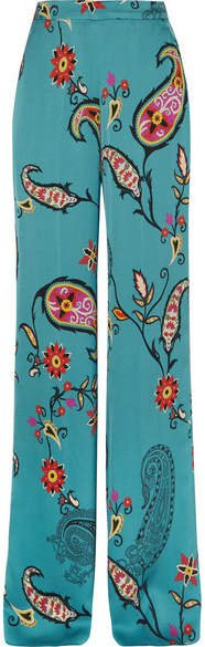 Printed Satin-twill Wide-leg Pants - Blue