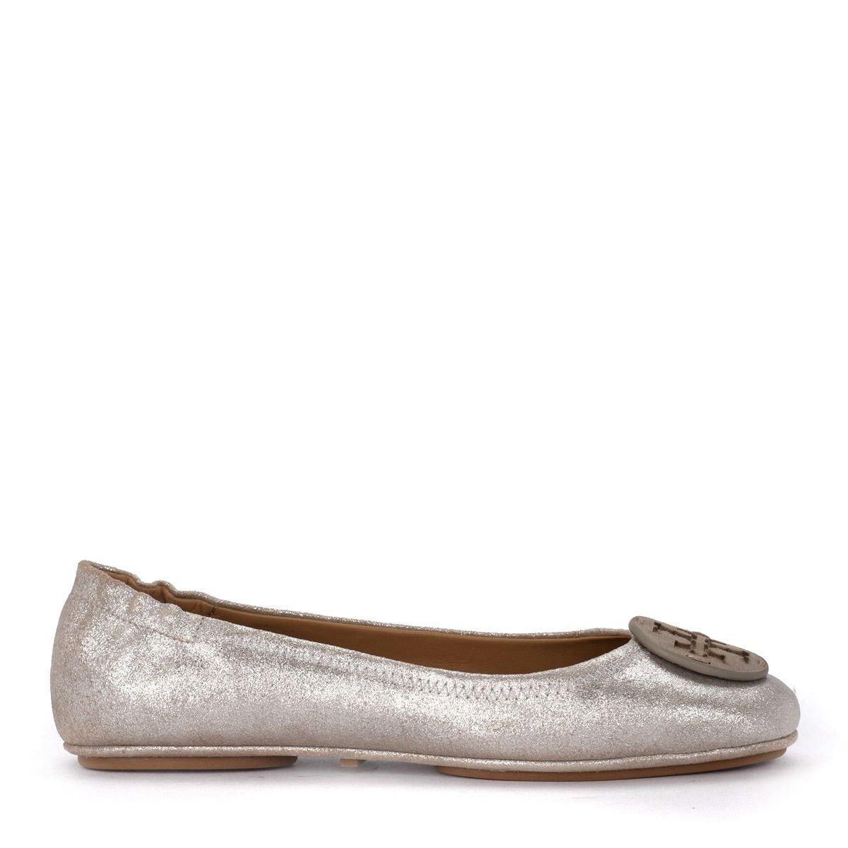 Tory Burch Minnie Travel Beige Metal Suede Flat Shoe