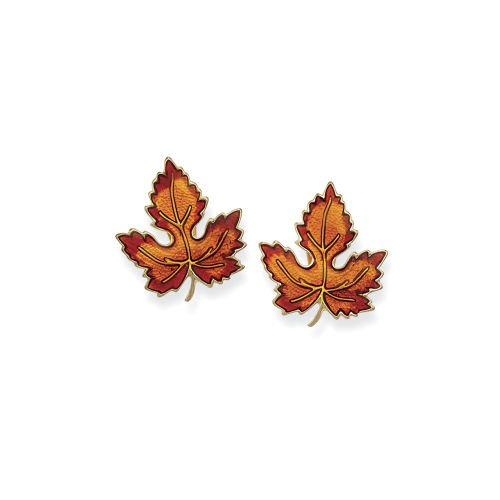 Goldplated Glitter Enamel Crystal Leaf Earrings & Affordable Fashion Jewelry - Shop Now