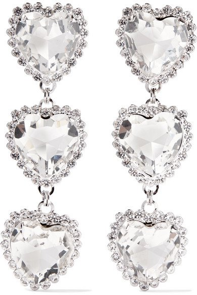 Alessandra Rich | Silver-tone crystal clip earrings | NET-A-PORTER.COM