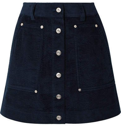 Pswl Cotton-corduroy Mini Skirt - Navy