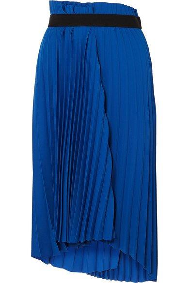 Balenciaga   Asymmetric pleated midi crepe skirt   NET-A-PORTER.COM