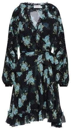 Floral-print Fil Coupe Silk-blend Wrap Mini Dress