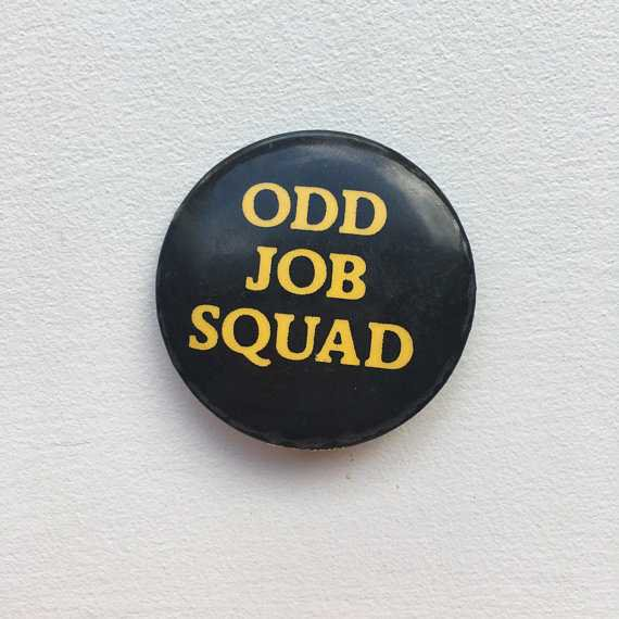 Vintage Odd Job Squad Pinback Button Pin