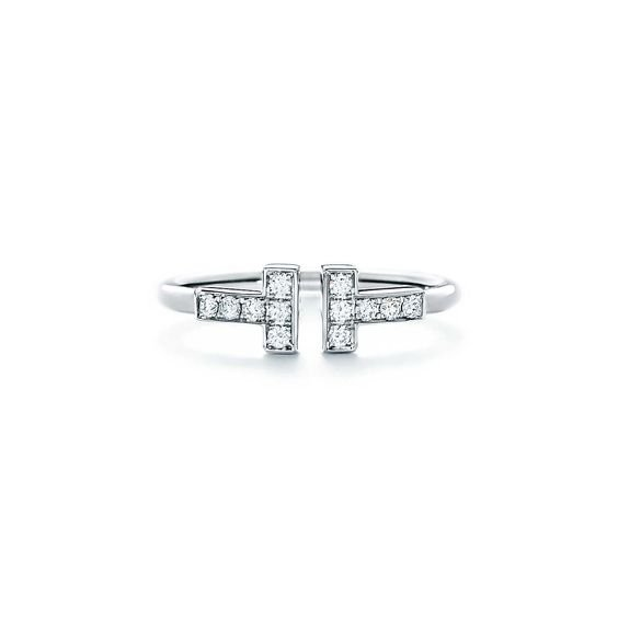 Tiffany T wire ring in 18k white gold with diamonds.   Tiffany & Co.