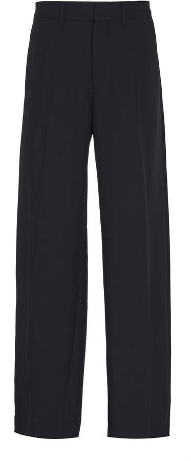 Satin Striped Wool Straight-Leg Trousers