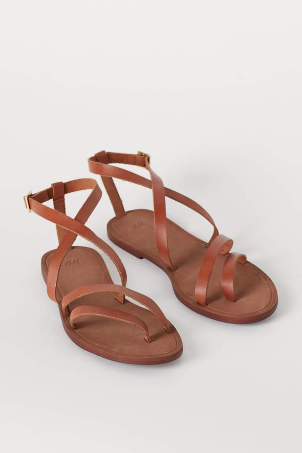 Strappy Leather Sandals - Orange