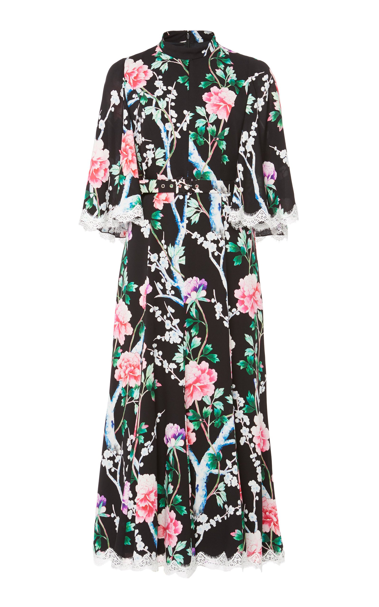 Andrew Gn Lace-Trimmed Floral Midi Dress