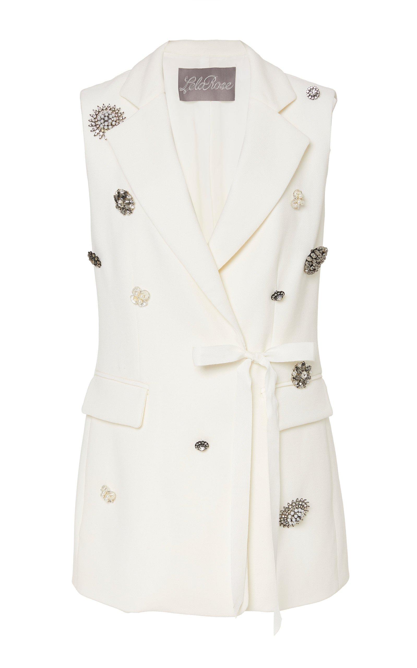 Lela Rose Crystal Button-Embellished Wool-Blend Vest