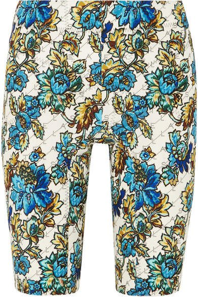 Floral-print Jersey Shorts - Blue