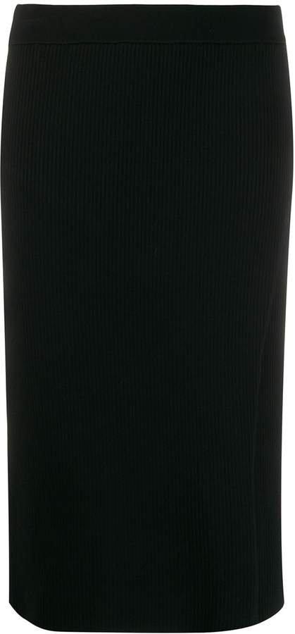 ribbed knit side slit pencil skirt