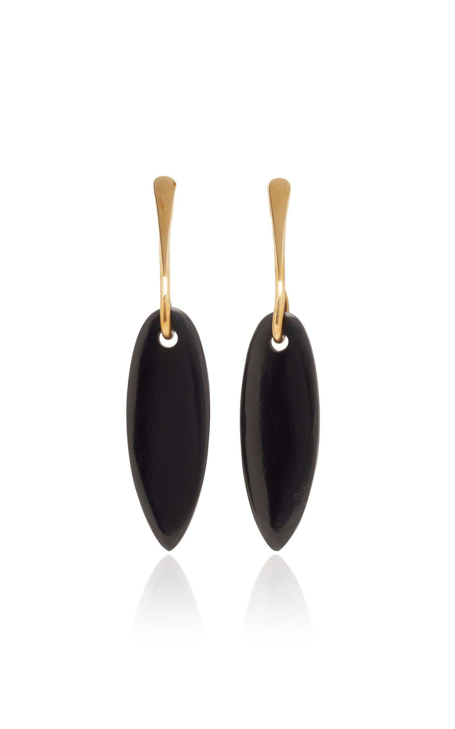 Lisa Eisner Black Jade Slender Spear Earrings