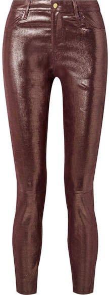 Metallic Snake-effect Leather Skinny Pants - Burgundy
