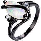 RongXing Jewelry New Christmas Best Friend Engagement Mysterious Rainbow Topaz Ring, 14KT Black Gold Wedding Rings | Amazon.com
