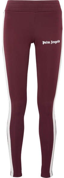 Printed Striped Stretch-jersey Leggings - Burgundy