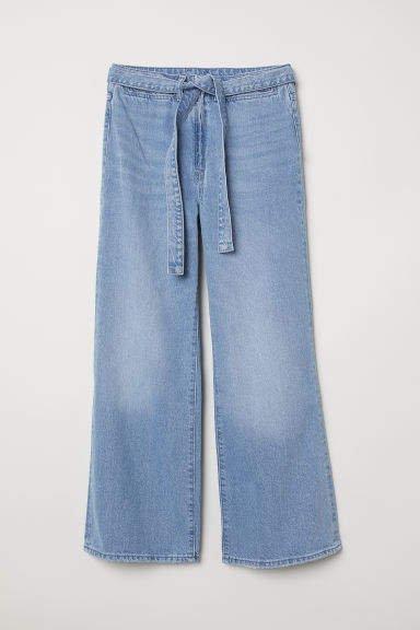 Wide High Waist Jeans - Blue