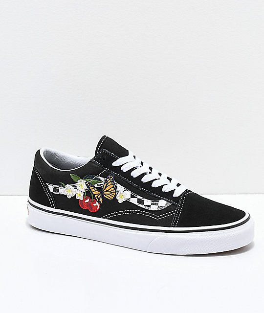 Vans Old Skool Black & White Checkered Floral Skate Shoes | Zumiez