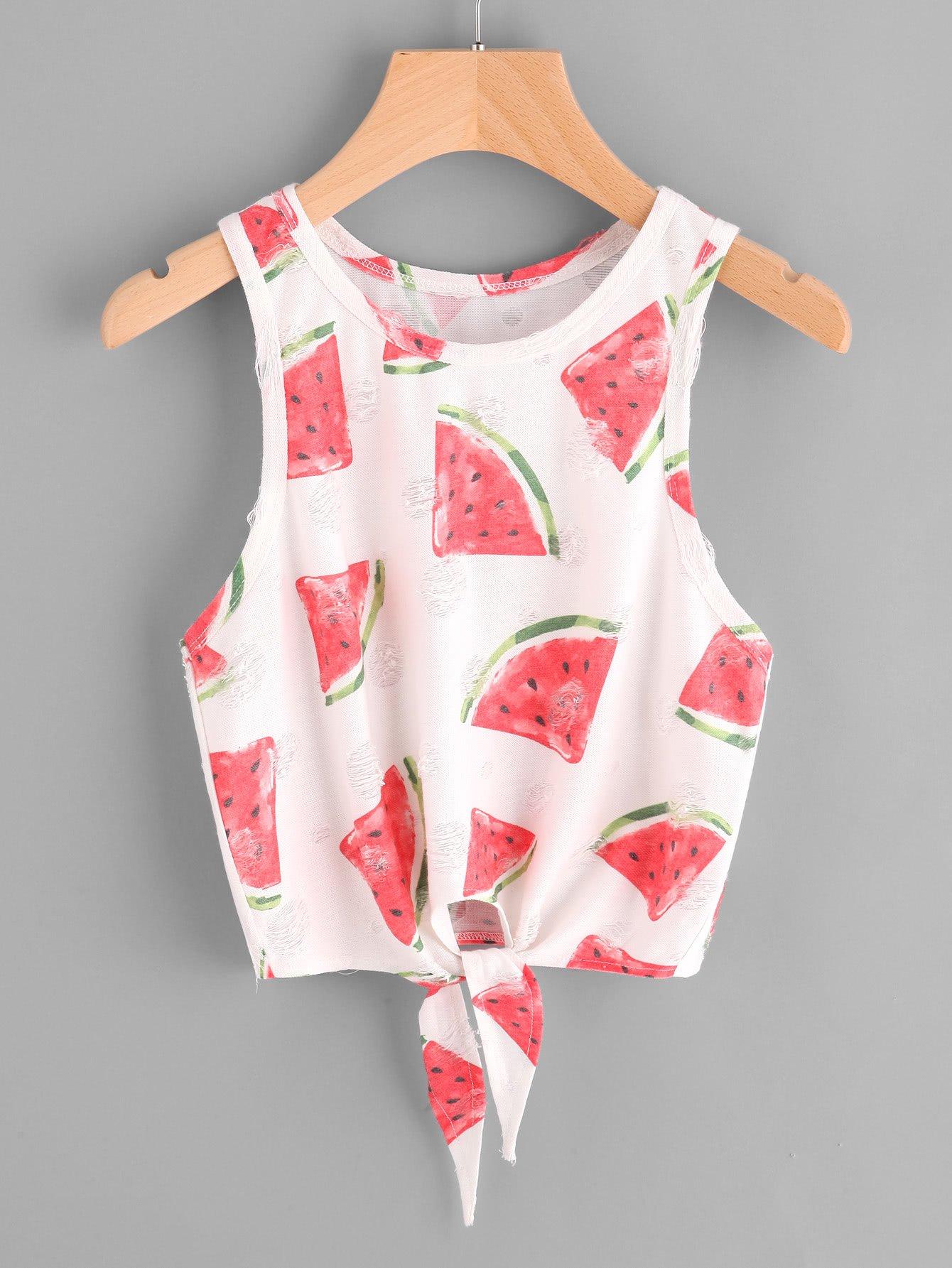 Watermelon Print Knot Front Frayed Dot Tank Top