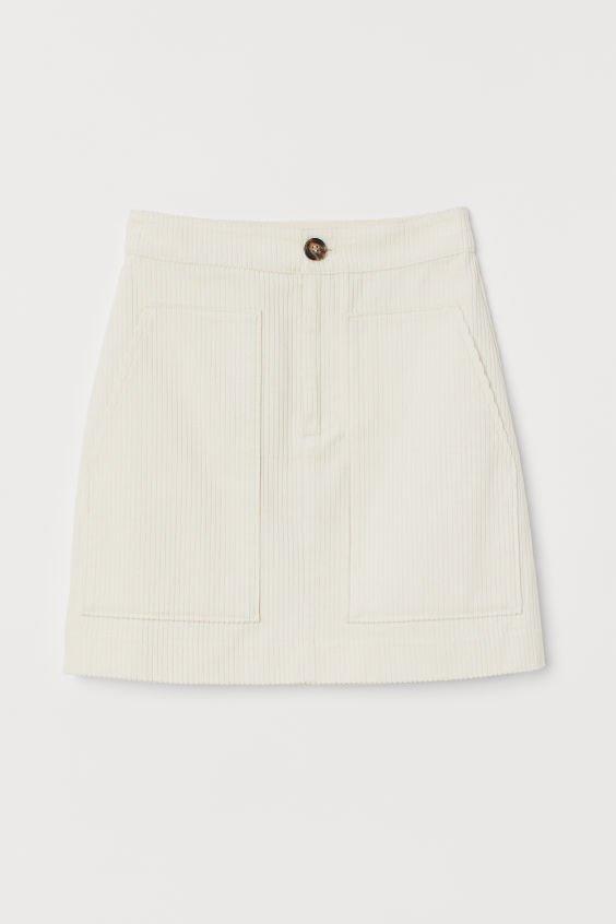 Corduroy skirt - Cream - Ladies | H&M IN