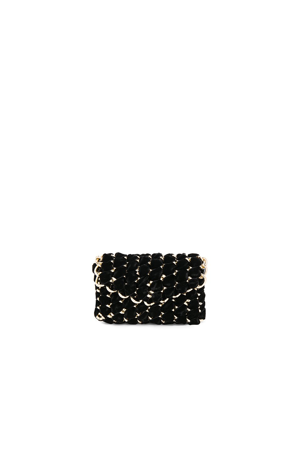 Micro Eve Velvet Clutch with Gold Chain