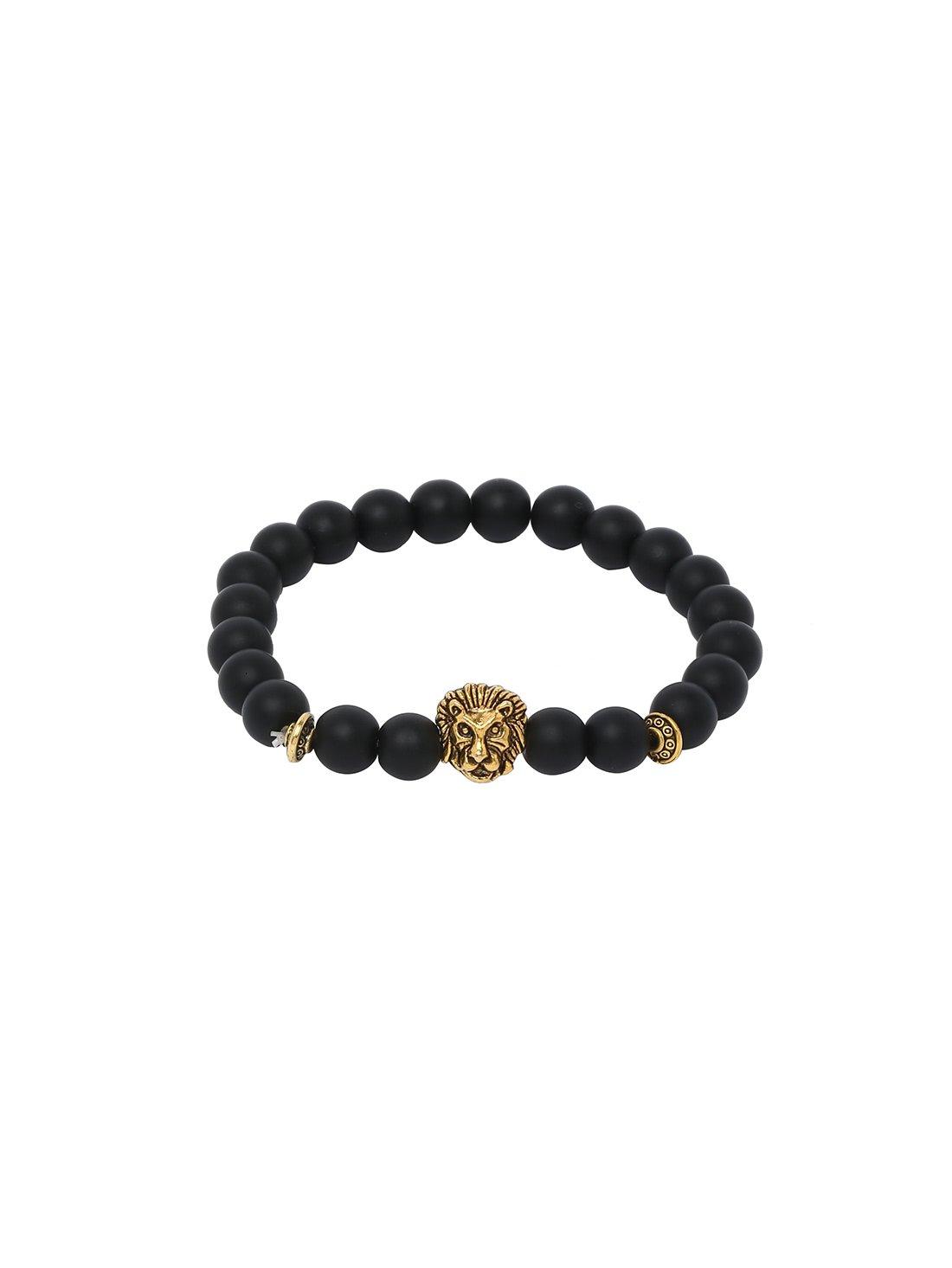 Obsidian With Gold Lionhead Polished Bracelet