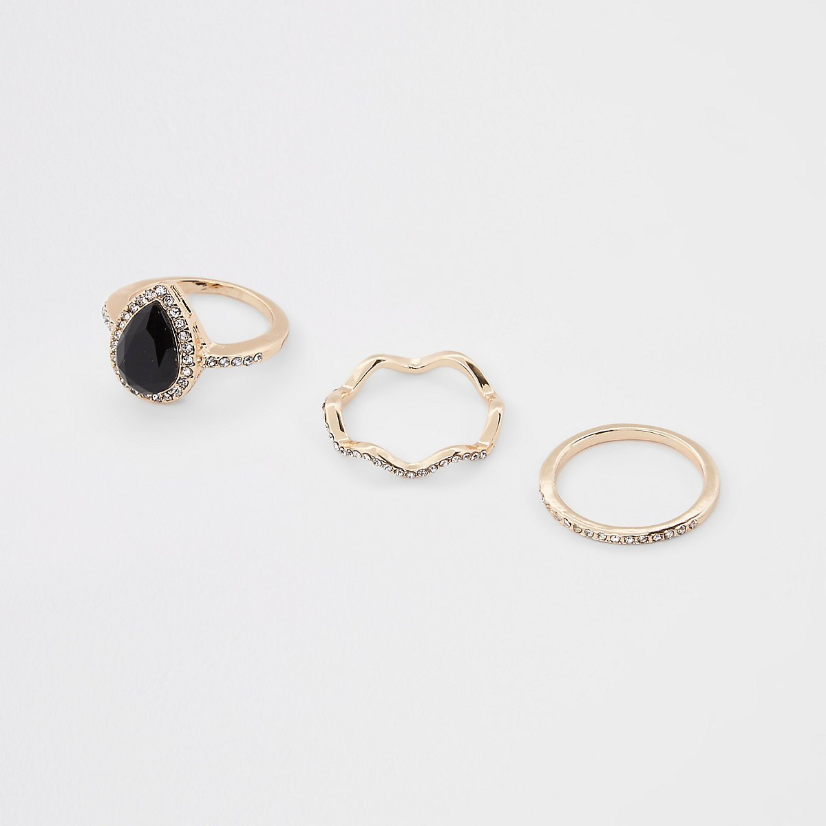 Gold color teardrop rhinestone paved ring pack - Rings - Jewelry - women