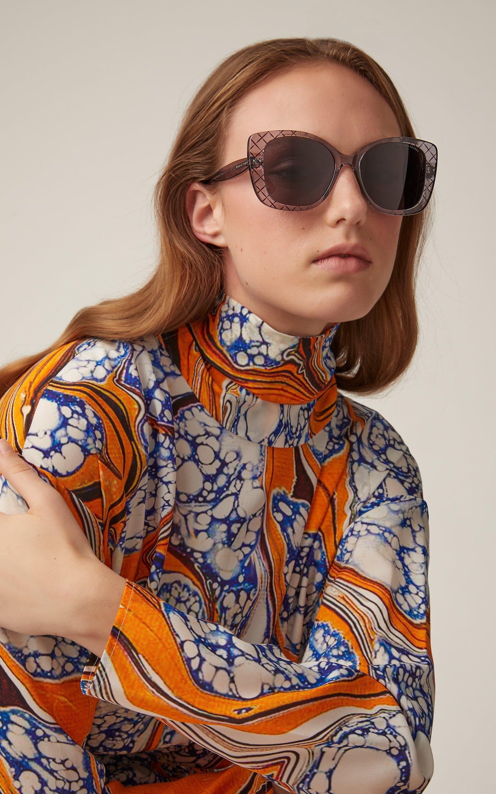 Bottega Veneta Sunglasses Intrecciato Butterfly Sunglasses