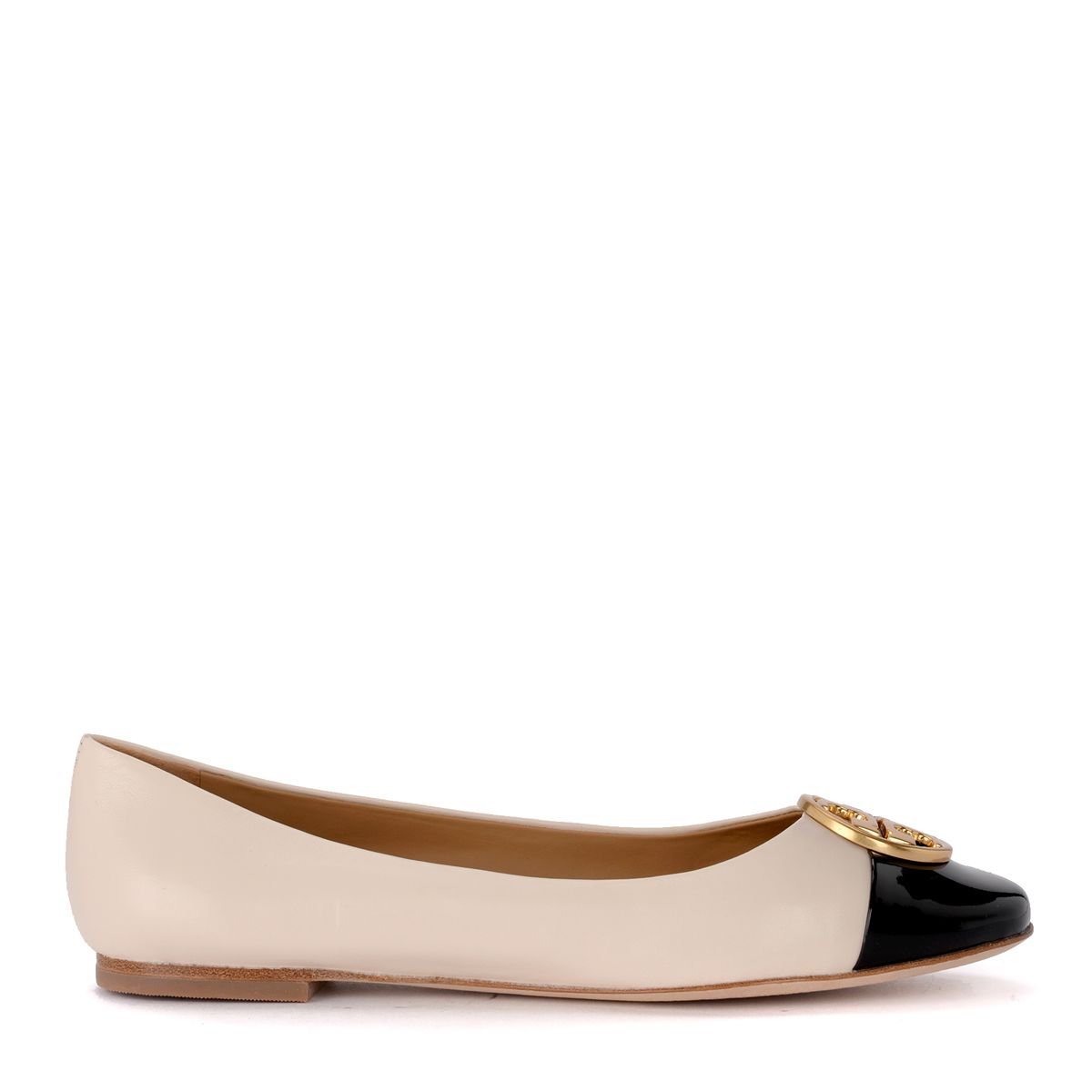 Tory Burch Chelsea Cream Leather And Black Patent Leather Flat Shoes